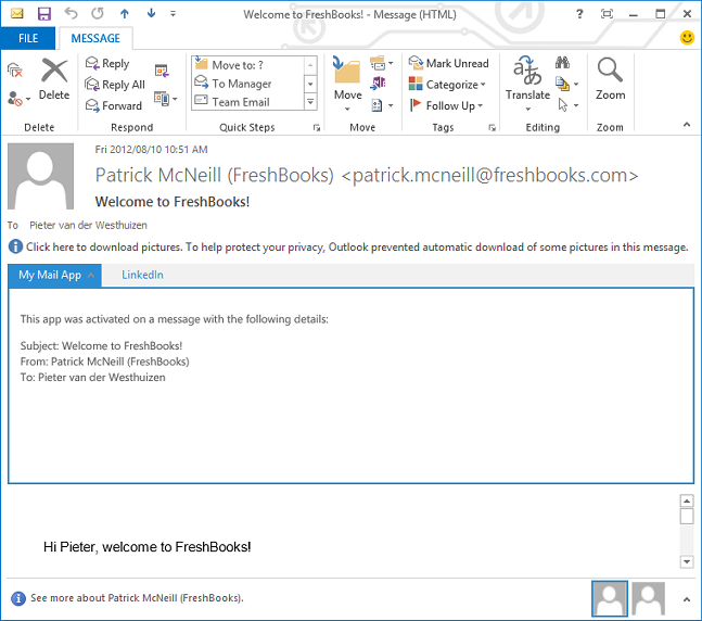 Your custom Mail app in Outlook 2013