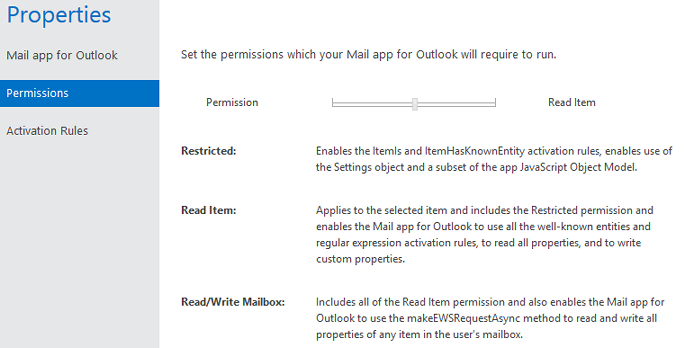 Set the permissions of your Mail app for Outlook