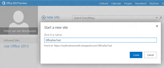 Creating an Office 365 test site