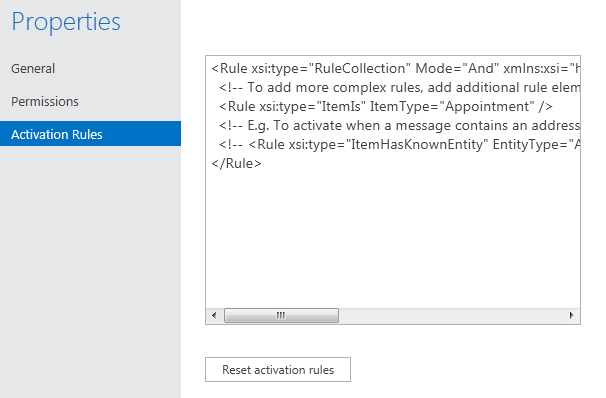 Setting the activation rules for the mail app