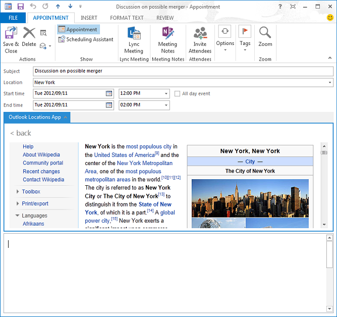 Details page of the Mail app in Outlook 2013