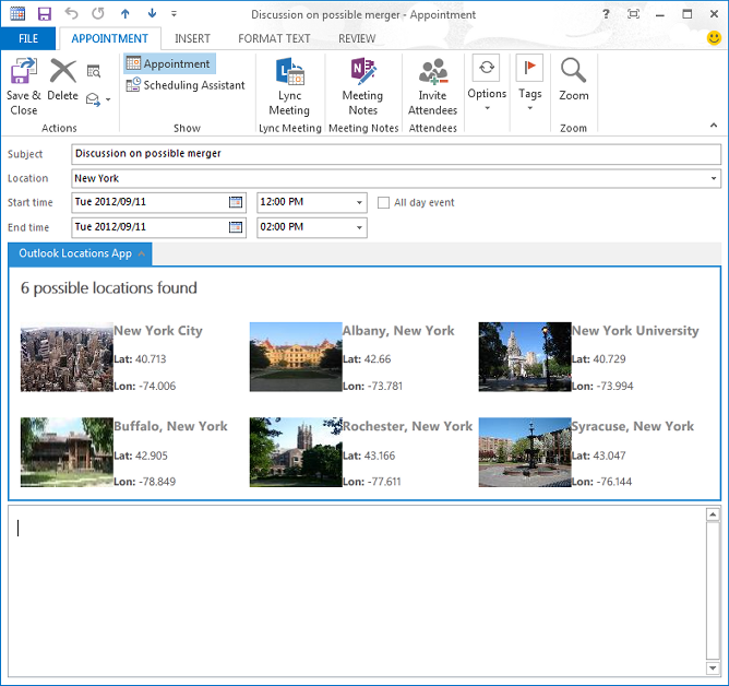Main page of the Mail app in Outlook 2013 Appointment