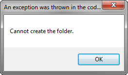 Outlook exception: Cannot create the folder