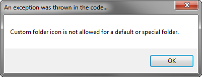 Outlook exception: Custom folder icon is not allowed for a default or specified folder