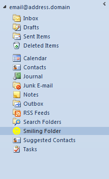 An Outlook folder with a custom icon