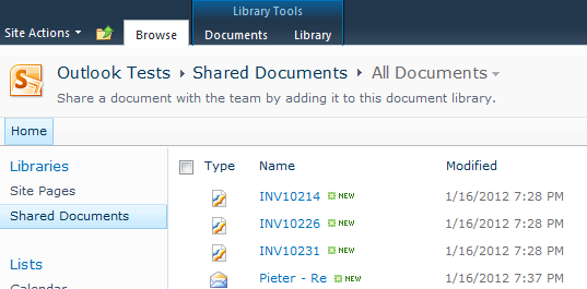 The entire e-mail saved in the Shared Documents library