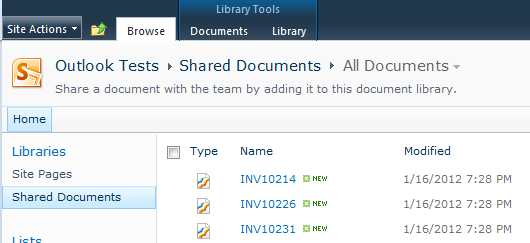 The attachments saved in the Shared Documents library