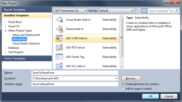 Creating a new COM Add-in in Visual Studio 2010