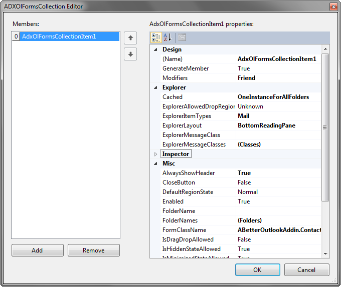 Configuring the properties of the Outlook custom form