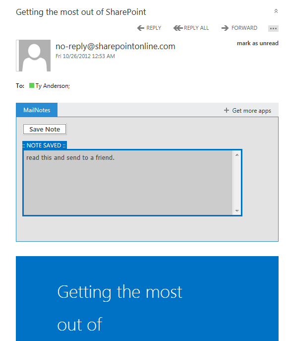 The mail app in Office 365