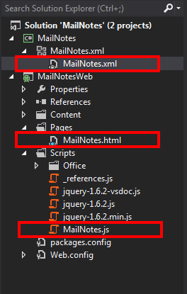 The structure of the mail app project in Visual Studio 2012