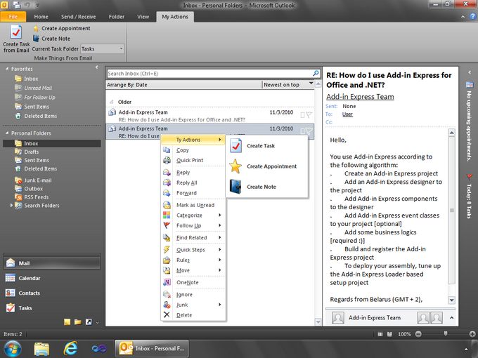 The custom context menu in Outlook 2010
