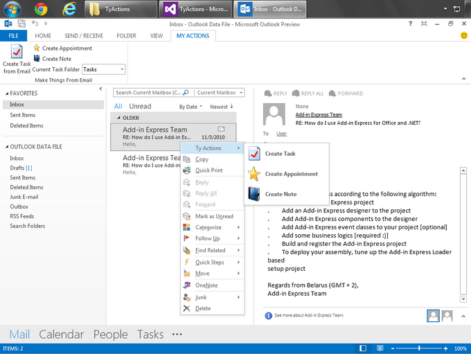 The custom context menu in Outlook 2013