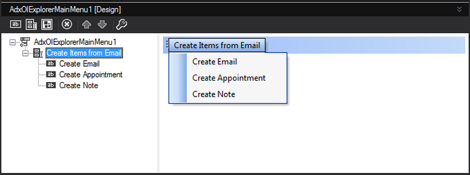 Custom Outlook menu bar in the in-place visual designer