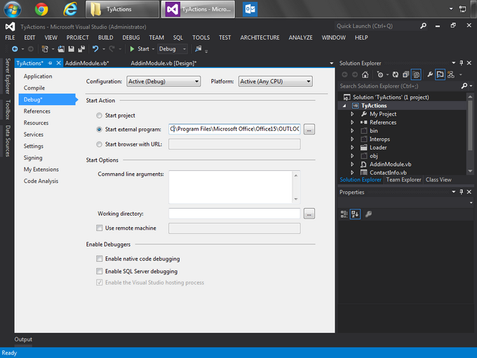 Changing the Start external program parameter to debug the project in Outlook 2013