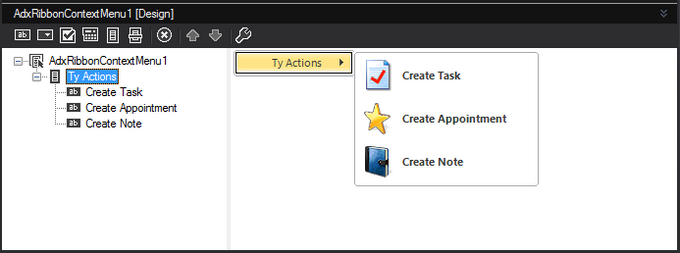Outlook ribbon context menu in the in-place visual designer