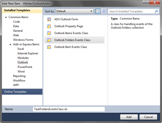 Adding an Outlook Folders Events Class