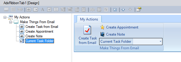 Custom Outlook ribbon design