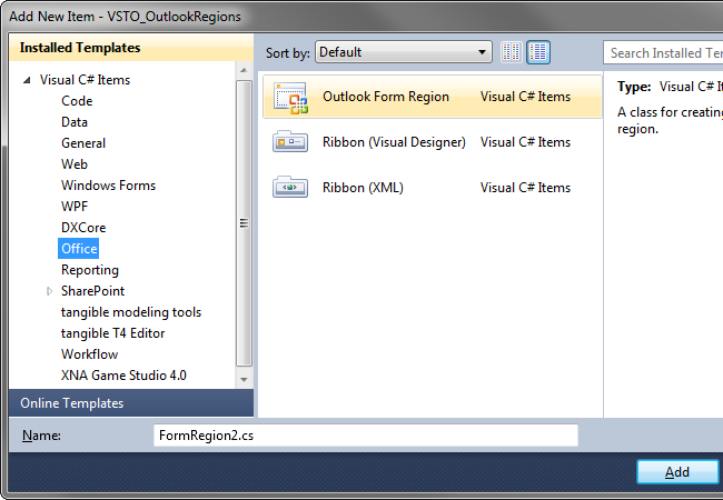 Outlook Form Region item template provided by VSTO