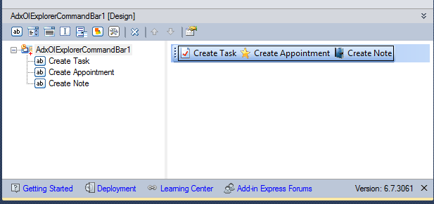 Custom Outlook command bar in Add-in Express visual designer at design time