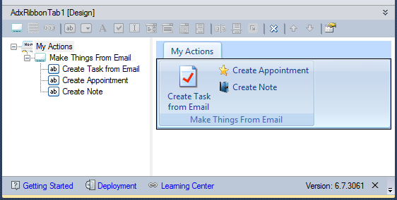 Custom Outlook ribbon tab in the Add-in Express visual designer