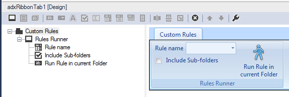 Designing the layout of the custom Outlook ribbon tab