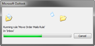 A progress window indicating that Outlook is executing the rule