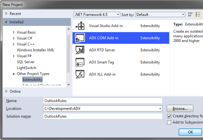 Creating a new Outlook COM Add-in project in Visual Studio 2012