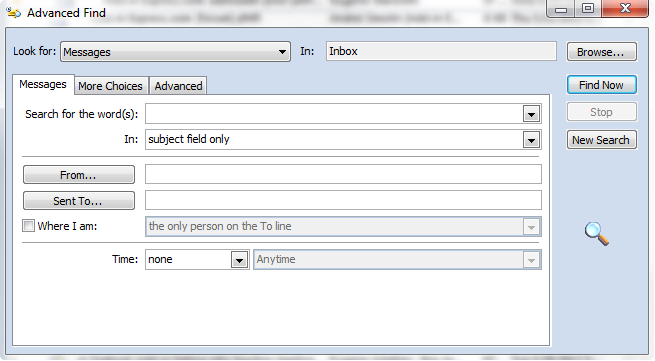Advanced Find dialog in Outlook