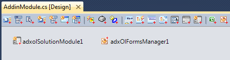 Adding the ADXOLSolutionModule and ADXOlFormsManager components to the AddinModule designer surface