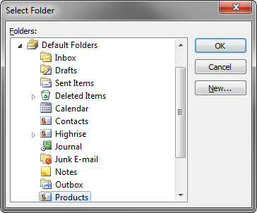 Choosing a folder to import the Products to