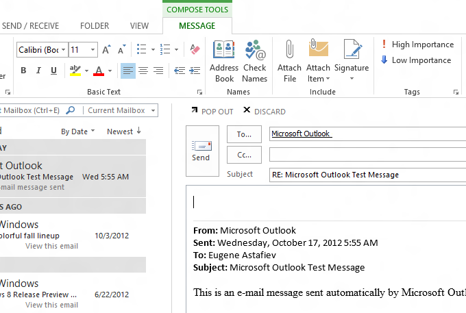 Replying to the messages directly in the Outlook 2013 inline response window