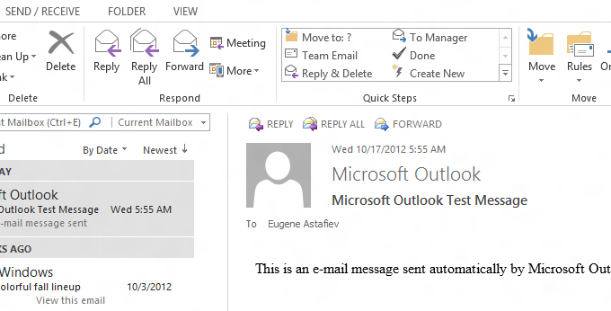 Outlook 2013 Reading Pane