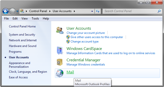 The Mail section in the Control Panel applet.