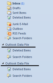 New Personal folders stores in the Outlook Navigation pane.