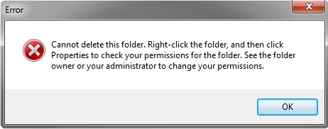 You may get such an error message when the Delete method of the Folder class is called.