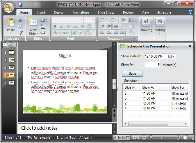 A scheduled presentation in PowerPoint 2010