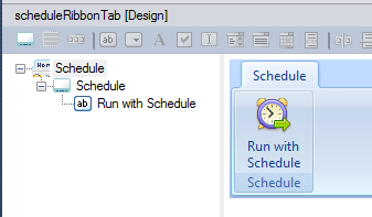 A custom Ribbon group and a button in the Add-in Express visual designer