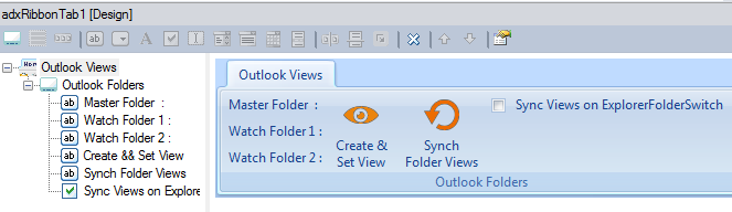 In-place visual designer for the Outlook Ribbon tab