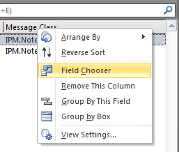 Adding another field to the master folder view by using the Field Chooser