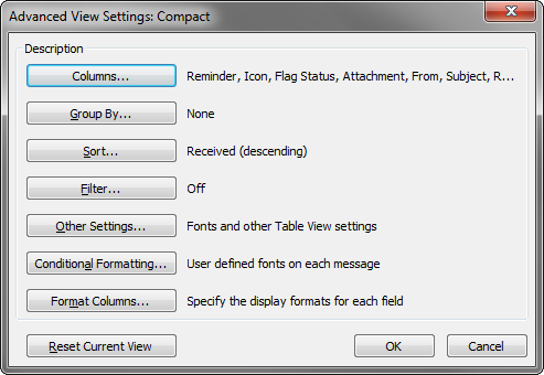 The user can add or remove fields via the View Settings dialog