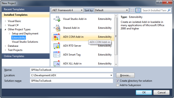Creating a new COM Add-in project in Visual Studio 2010