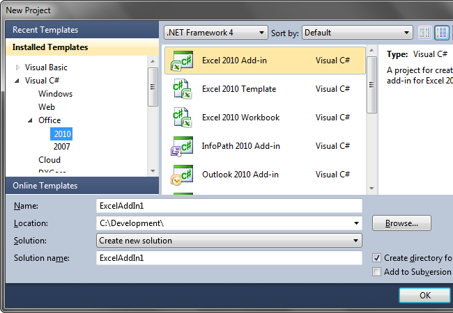 Creating a custom Excel Task pane with VSTO
