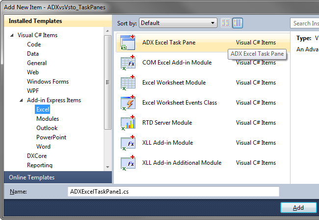 Adding a new Add-in Express Excel Task Pane item to your project