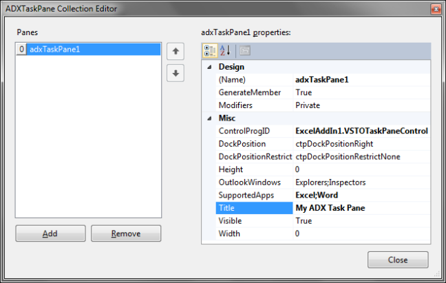 Tuning your custom Office task pane using the ADXTaskPane Collection Editor