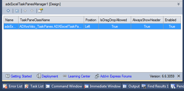 Using the Add-in Express in-place designer you can quickly add or remove task panes to the Excel Task Panes Manager