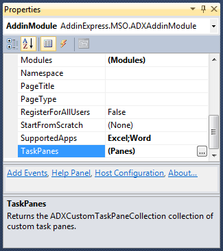TaskPanes property in the Add-in Express AddinModule properties