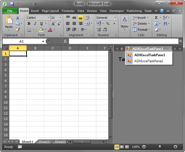 A dropdown menu in Excel 2010 with 2 custom task panes