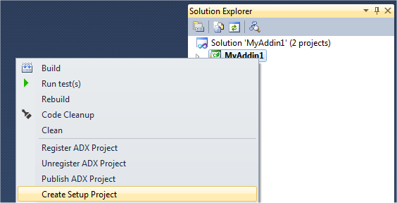 Creating a new setup project in Visual Studio 2010