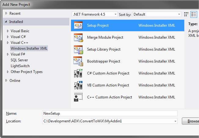 Adding a new WiX setup project to your Office add-in solution in Visual Studio 2012